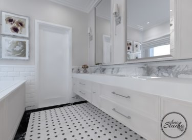Łazienka z dużym oknem – new classic
